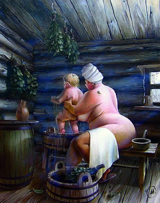 Барин с бабами в бане видео смотреть