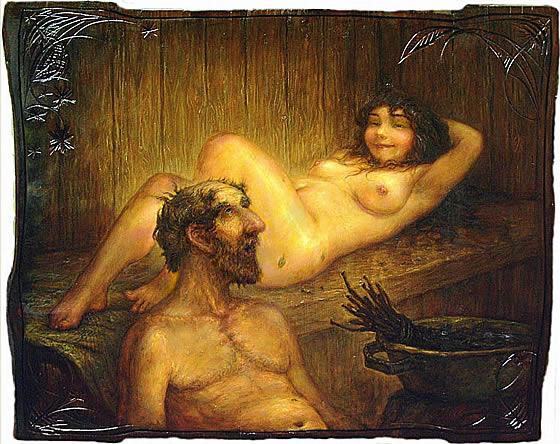 Жена в бане фото, корточках